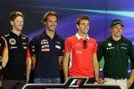 Romain Grosjean (Lotus), Jean-Eric Vergne (Toro Rosso), Jules Bianchi (Marussia) und Charles Pic (Caterham)
