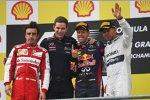 Fernando Alonso (Ferrari), Sebastian Vettel (Red Bull) und Lewis Hamilton (Mercedes)