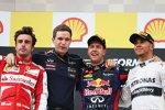 Sebastian Vettel (Red Bull), Fernando Alonso (Ferrari) und Lewis Hamilton (Mercedes)