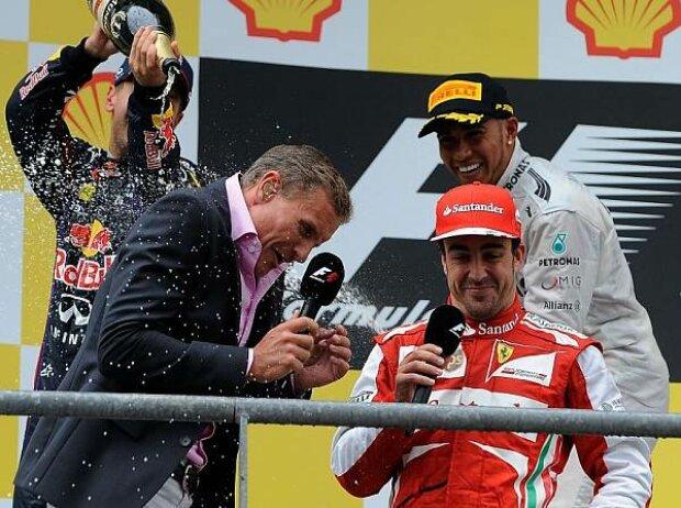 Sebastian Vettel, Lewis Hamilton, David Coulthard, Fernando Alonso