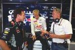Christian Horner, Sebastian Vettel und Helmut Marko (Red Bull)