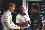 Sebastian Vettel, Helmut Marko und Christian Horner (Red Bull)
