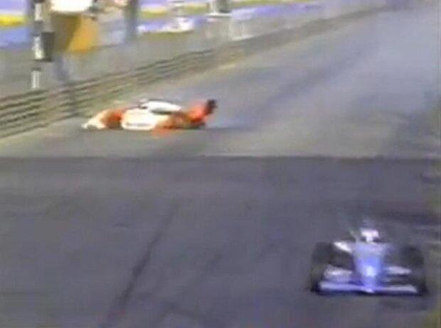 Michael Schumache und, Mika Häkkinen 1990 beim Formel-3-Rennen in Macao
