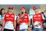 Fernando Alonso, Kamui Kobayashi und  Felipe Massa (Ferrari)
