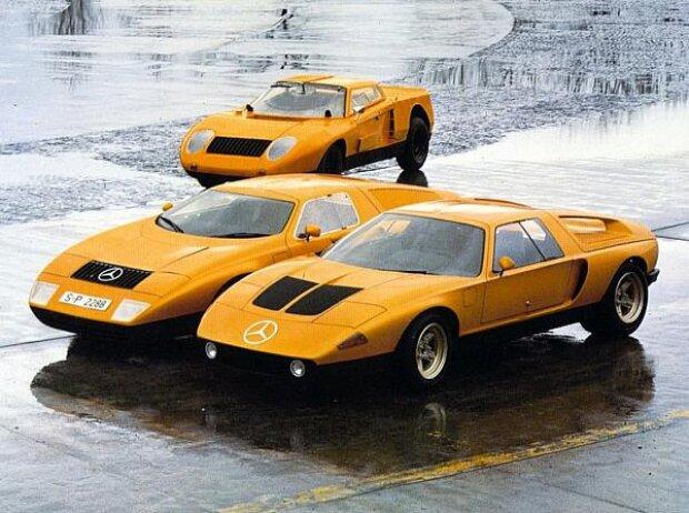 Im Mercedes-Benz C 111-I (1969, im Foto) und im C 111-II (1970) wird der Wankelmotor als Fahrzeugantrieb erprobt