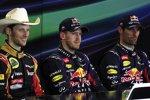 Romain Grosjean (Lotus), Sebastian Vettel (Red Bull) und Mark Webber (Red Bull)