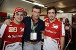 Fernando Alonso und Felipe Massa mit Antonio Banderas