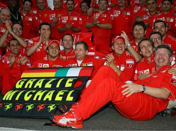 Ross Brawn, Jean Todt, Felipe Massa, Michael Schumacher