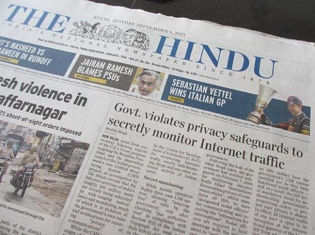 Indien, The Hindu, Vettel, Zeitung