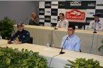 Sebastien Ogier, Kris Meeke, Thierry Neuville und Elfyn Evans bei der offiziellen Pressekonferenz