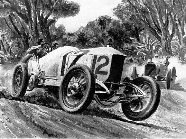 Vanderbilt-Rennen 1914 bei Los Angeles: Ralph de Palma im Mercedes