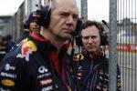 Christian Horner, Adrian Newey und Daniel Ricciardo (Red Bull)