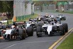 Sergio Perez (Force India), Valtteri Bottas (Williams) und Jenson Button (McLaren)