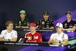 Donnerstags-Pressekonferenz mit Nico Rosberg (Mercedes), Kamui Kobayashi (Caterham), Kimi Räikkönen (Ferrari), Pastor Maldonado (Lotus), Valtteri Bottas (Williams) und Daniil Kwjat (Toro Rosso)
