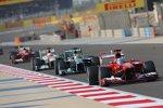 Fernando Alonso (Ferrari), Nico Rosberg (Mercedes) und Paul di Resta (HWA-Mercedes)