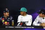 Sebastian Vettel (Red Bull), Lewis Hamilton (Mercedes) und Nico Rosberg (Mercedes)