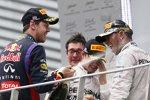 Lewis Hamilton (Mercedes), Sebastian Vettel (Red Bull) und Nico Rosberg (Mercedes)