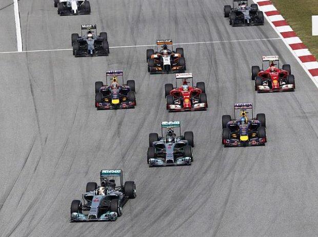 Lewis Hamilton, Nico Rosberg, Sebastian Vettel, Fernando Alonso, Daniel Ricciardo, Kimi Räikkönen, Nico Hülkenberg, Kevin Magnussen