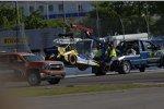 Marco Andrettis nach dem Crash beim Restart am Haken