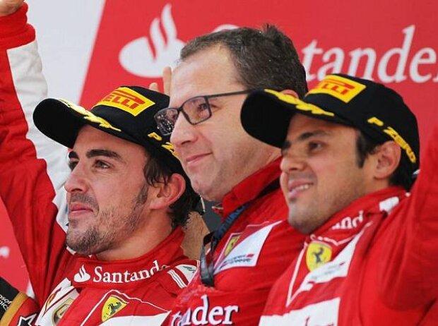 Fernando Alonso, Stefano Domenicali, Felipe Massa, Kimi Räikkönen