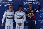 Lewis Hamilton (Mercedes), Nico Rosberg (Mercedes) und Daniel Ricciardo (Red Bull)