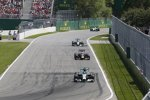 Nico Rosberg (Mercedes), Sebastian Vettel (Red Bull) und Lewis Hamilton (Mercedes)
