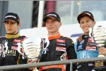Esteban Ocon, Max Verstappen und Gustavo Menezes