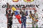 Dreimal Kolumbien auf dem Podium: Carlos Huertas (Coyne), Juan Pablo Montoya (Penske) und Carlos Munoz (Andretti)
