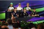 Donnerstags-Pressekonferenz mit Kamui Kobayashi (Caterham), Esteban Gutierrez (Sauber), Marcus Ericsson (Caterham), Jean-Eric Vergne (Toro Rosso), Sergio Perez (Force India) und Pastor Maldonado (Lotus)