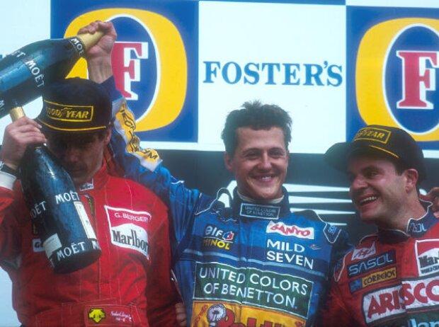 Gerhard Berger, Michael Schumacher, Rubens Barrichello