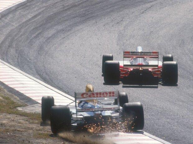 Ayrton Senna und Nigel Mansell in Suzuka 1991