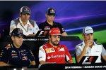 Sebastian Vettel (Red Bull), Fernando Alonso (Ferrari) und Jenson Button (McLaren)