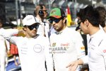 Felipe Massa (Williams), Sebastian Vettel (Red Bull) und Kamui Kobayashi (Caterham)