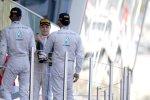 Nico Rosberg (Mercedes), Lewis Hamilton (Mercedes) und Valtteri Bottas (Williams)