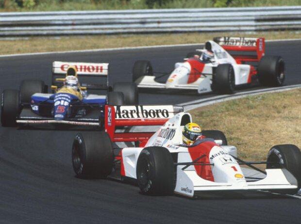 Ayrton Senna, Gerhard Berger, Nigel Mansell Ungarn Budapest Hungaroring 1992