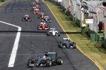 Lewis Hamilton (Mercedes), Nico Rosberg (Mercedes), Felipe Massa (Williams) und Sebastian Vettel (Ferrari)