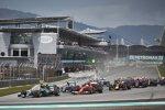 Lewis Hamilton (Mercedes), Sebastian Vettel (Ferrari), Nico Rosberg (Mercedes) und Daniel Ricciardo (Red Bull)