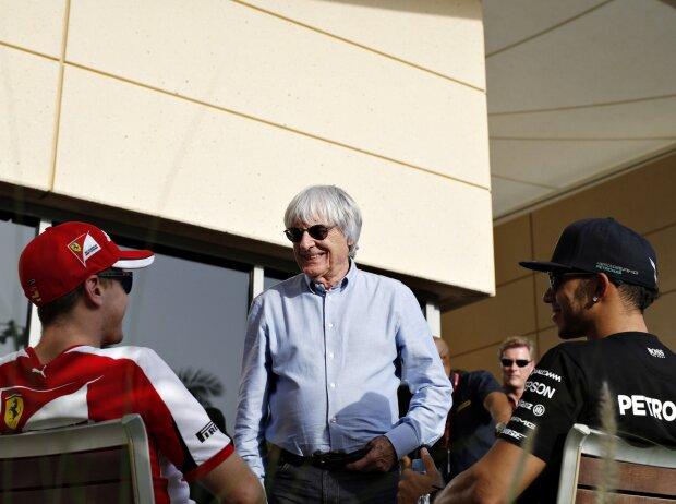 Bernie Ecclestone, Sebastian Vettel, Lewis Hamilton