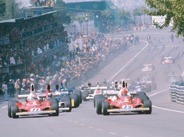 Start zum tragischen Grand Prix von Spanien 1975 im Montjuich Park