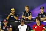 Felipe Nasr (Sauber), Nico Rosberg (Mercedes), Daniil Kwjat (Red Bull), Roberto Merhi (Manor-Marussia), Fernando Alonso (McLaren) und Carlos Sainz (Toro Rosso)