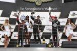 Das Podium des Indianapolis-Grand-Prix: Will Power, Graham Rahal, Juan Pablo Montoya