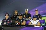 FIA-Pressekonferenz mit Sergio Perez (Force India), Pastor Maldonado (Lotus), Daniil Kwjat (Red Bull), Felipe Massa (Williams), Lewis Hamilton (Mercedes) und Max Verstappen (Toro Rosso)