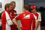 Maurizio Arrivabene, Sebastian Vettel (Ferrari) und Kimi Räikkönen (Ferrari)