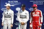 Lewis Hamilton (Mercedes) steht wieder auf der Pole-Position, Nico Rosberg (Mercedes) und Kimi Räikkönen (Ferrari) dahinter