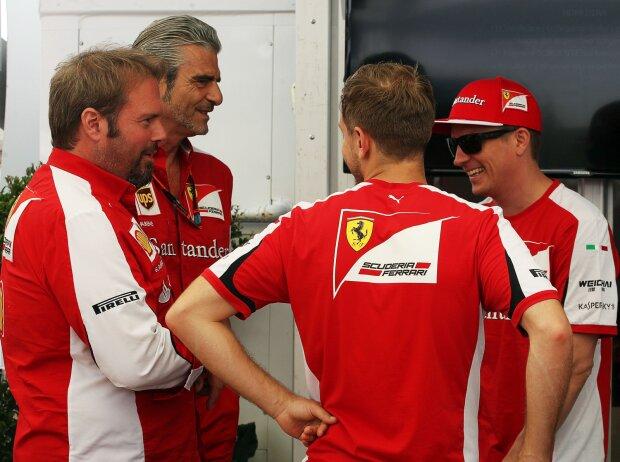 Maurizio Arrivabene, Sebastian Vettel, Kimi Räikkönen