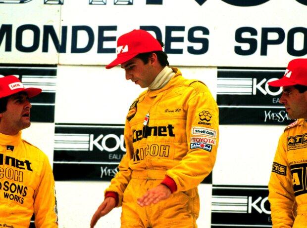 Martin Donnelly, Damon Hill und Roland Ratzenberger auf dem Formel-3-Podium in Spa 1987