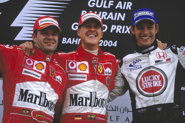 Michael Schumacher Rubens Barrichello Jenson Button   F1 ~Michael Schumacher, Rubens Barrichello und Jenson Button in Sachir 2004~
