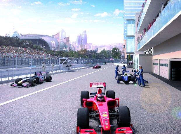 Simulation der Strecke in Baku, Aserbaidschan