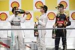 Lewis Hamilton (Mercedes), Nico Rosberg (Mercedes) und Romain Grosjean (Lotus)