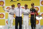 Nico Rosberg (Mercedes), Lewis Hamilton (Mercedes) und Romain Grosjean (Lotus)